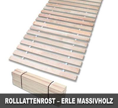 Massiver Rolllattenrost aus Erle-Massivholz für die Liegefläche von 200x80cm.