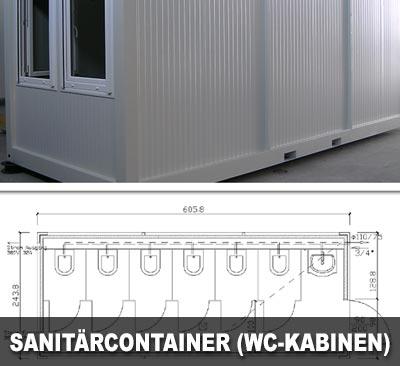 Sanitärcontainer mit 6 WC-Kabinen