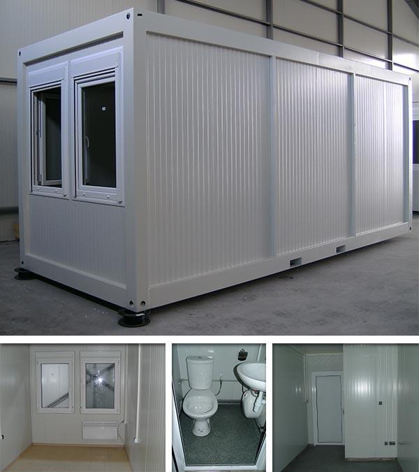 Wohncontainer mit Toilette und Waschbecken